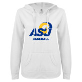 ENZA Ladies White V Notch Raw Edge Fleece Hoodie-ASU Baseball