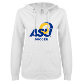 ENZA Ladies White V Notch Raw Edge Fleece Hoodie-ASU Soccer