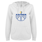 ENZA Ladies White V Notch Raw Edge Fleece Hoodie-Rams Basketball