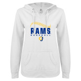 ENZA Ladies White V Notch Raw Edge Fleece Hoodie-Rams Baseball