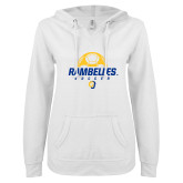 ENZA Ladies White V Notch Raw Edge Fleece Hoodie-Rambelles Soccer