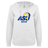 ENZA Ladies White V Notch Raw Edge Fleece Hoodie-ASU Mom