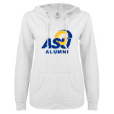 ENZA Ladies White V Notch Raw Edge Fleece Hoodie-ASU Alumni