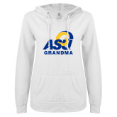 ENZA Ladies White V Notch Raw Edge Fleece Hoodie-ASU Grandma