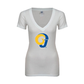 Next Level Ladies Junior Fit Deep V White Tee-Official Logo
