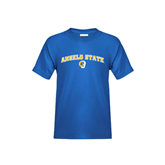 Youth Royal T Shirt-Arched Angelo State w/ Ram