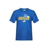 Youth Royal T Shirt-Soccer Swoosh Design