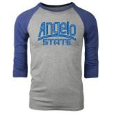 Grey/Royal Heather Tri Blend Baseball Raglan-Angelo State