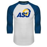 White/Royal Raglan Baseball T Shirt-ASU Logo