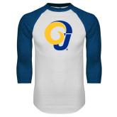 White/Royal Raglan Baseball T Shirt-Ram Logo