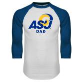 White/Royal Raglan Baseball T Shirt-ASU Dad