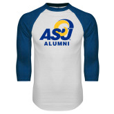 White/Royal Raglan Baseball T Shirt-ASU Alumni