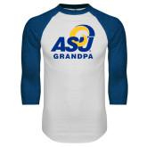 White/Royal Raglan Baseball T Shirt-ASU Grandpa