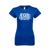 Next Level Ladies SoftStyle Junior Fitted Royal Tee-Angelo State