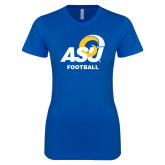Next Level Ladies SoftStyle Junior Fitted Royal Tee-ASU Football