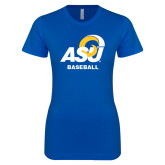 Next Level Ladies SoftStyle Junior Fitted Royal Tee-ASU Baseball