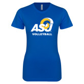 Next Level Ladies SoftStyle Junior Fitted Royal Tee-ASU Volleyball