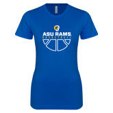 Next Level Ladies SoftStyle Junior Fitted Royal Tee-Rams Basketball