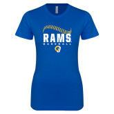 Next Level Ladies SoftStyle Junior Fitted Royal Tee-Rams Baseball