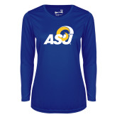 Ladies Syntrel Performance Royal Longsleeve Shirt-ASU Logo