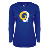 Ladies Syntrel Performance Royal Longsleeve Shirt-Ram Logo