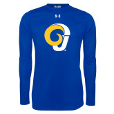Under Armour Royal Long Sleeve Tech Tee-Ram Logo
