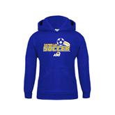 Youth Royal Fleece Hood-Soccer Swoosh Design