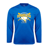 Performance Royal Longsleeve Shirt-Softball Bats and Plate Design