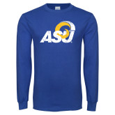 Royal Long Sleeve T Shirt-Distressed Logo