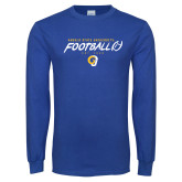 Royal Long Sleeve T Shirt-Rams Football