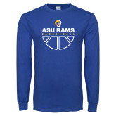 Royal Long Sleeve T Shirt-Rams Basketball