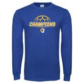 Royal Long Sleeve T Shirt-Womens Soccer Champions