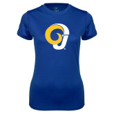 Ladies Syntrel Performance Royal Tee-Ram Logo