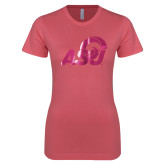 Next Level Ladies SoftStyle Junior Fitted Pink Tee-ASU Logo  Foil