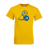Gold T Shirt-Peace, Love and Volleyball Design