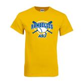 Gold T Shirt-Softball Bats and Plate Design
