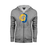 Ladies Grey Fleece Full Zip Hoodie-Official Logo Distressed