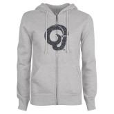 ENZA Ladies Grey Fleece Full Zip Hoodie-Ram Glitter Graphite Soft Glitter