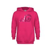 Youth Raspberry Fleece Hoodie-ASU Logo  Foil