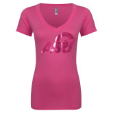 Next Level Ladies Junior Fit Ideal V Pink Tee-ASU Logo  Foil