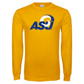Gold Long Sleeve T Shirt-Distressed Logo