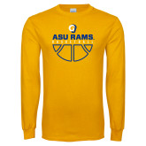 Gold Long Sleeve T Shirt-Rams Basketball
