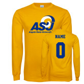 Gold Long Sleeve T Shirt-Primary Mark, Custom Tee w/ Name and #