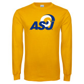 Gold Long Sleeve T Shirt-ASU Logo