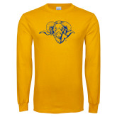 Gold Long Sleeve T Shirt-Ram Head