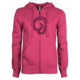 ENZA Ladies Fuchsia Fleece Full Zip Hoodie-Ram Glitter Hot Pink Glitter