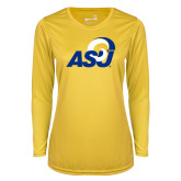 Ladies Syntrel Performance Gold Longsleeve Shirt-ASU Logo