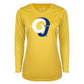 Ladies Syntrel Performance Gold Longsleeve Shirt-Ram Logo