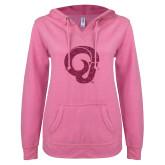 ENZA Ladies Hot Pink V Notch Raw Edge Fleece Hoodie-Ram Glitter Hot Pink Glitter