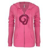 ENZA Ladies Hot Pink Light Weight Fleece Full Zip Hoodie-Ram Glitter Hot Pink Glitter